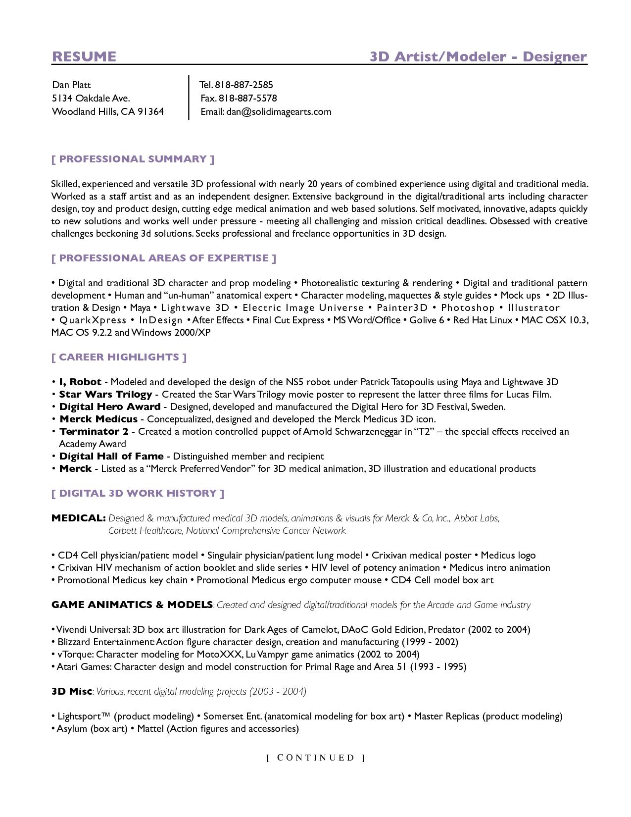 Resume 3d Artist Template 3d Artist Artist Resume Resume