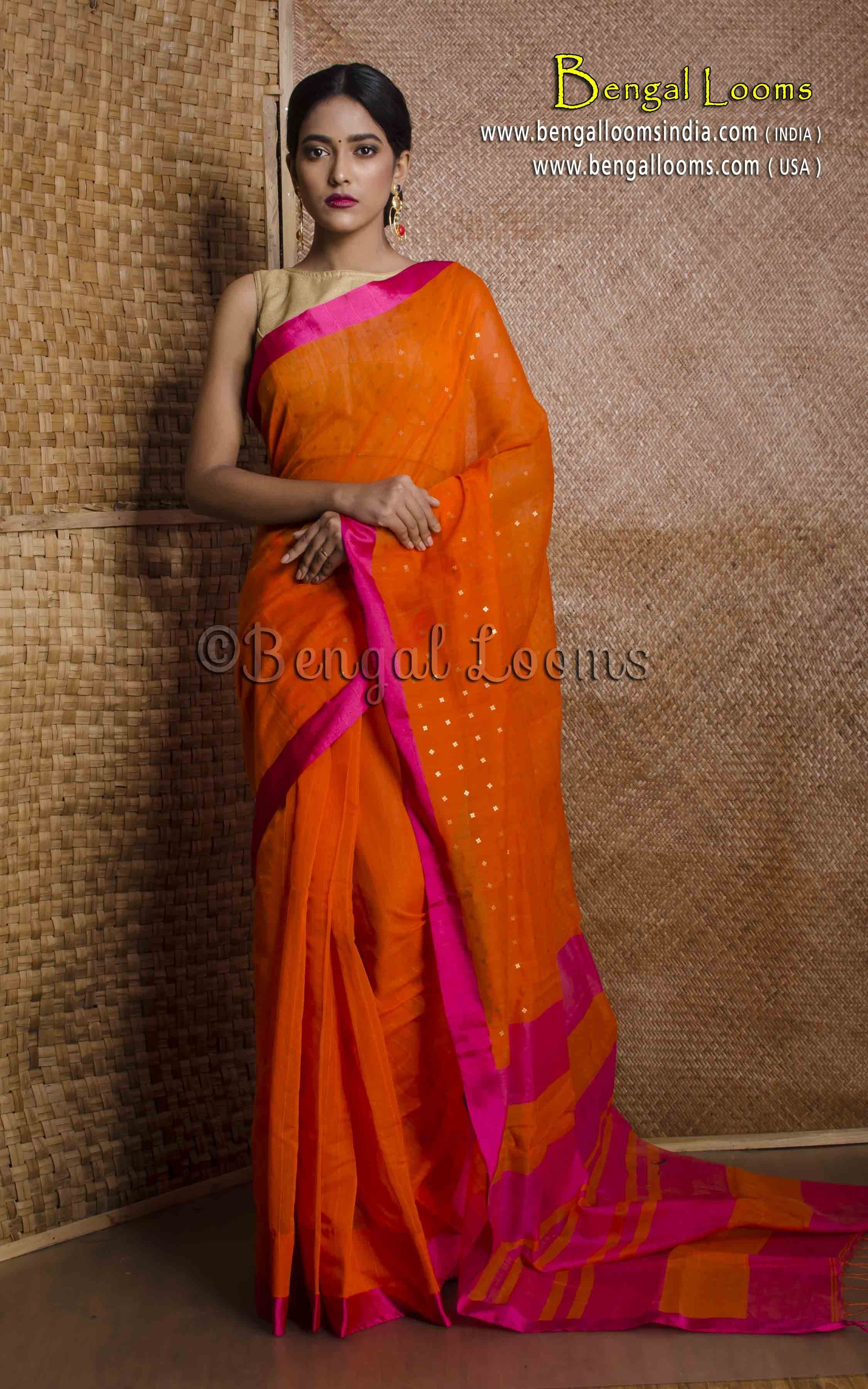 8ec403397e Pure Handloom Khadi Soft Cotton Saree with Sequin Work in Orange and Rani