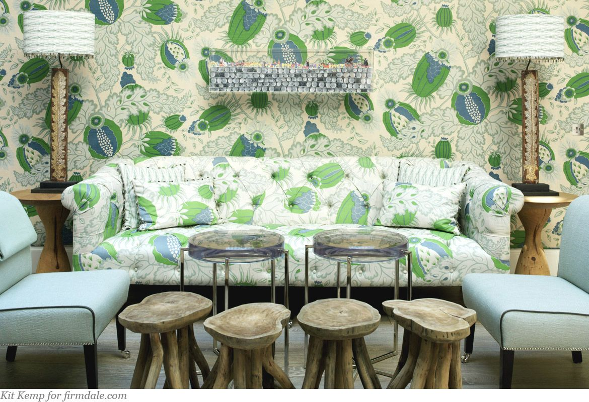 """Carnival Designed by Micheal Szell Colourway: Green Content: 100% Linen Width: 52.8""""/134 cm Repeat: 38.2""""/97 cm"""