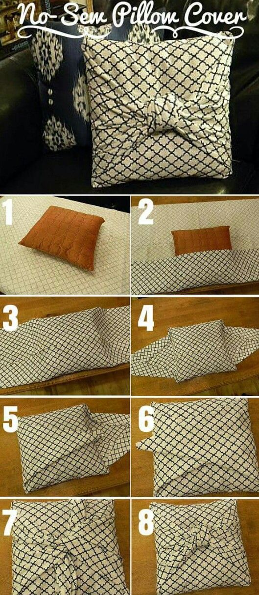 No Sew Pillow Cover - I want to try this one day!