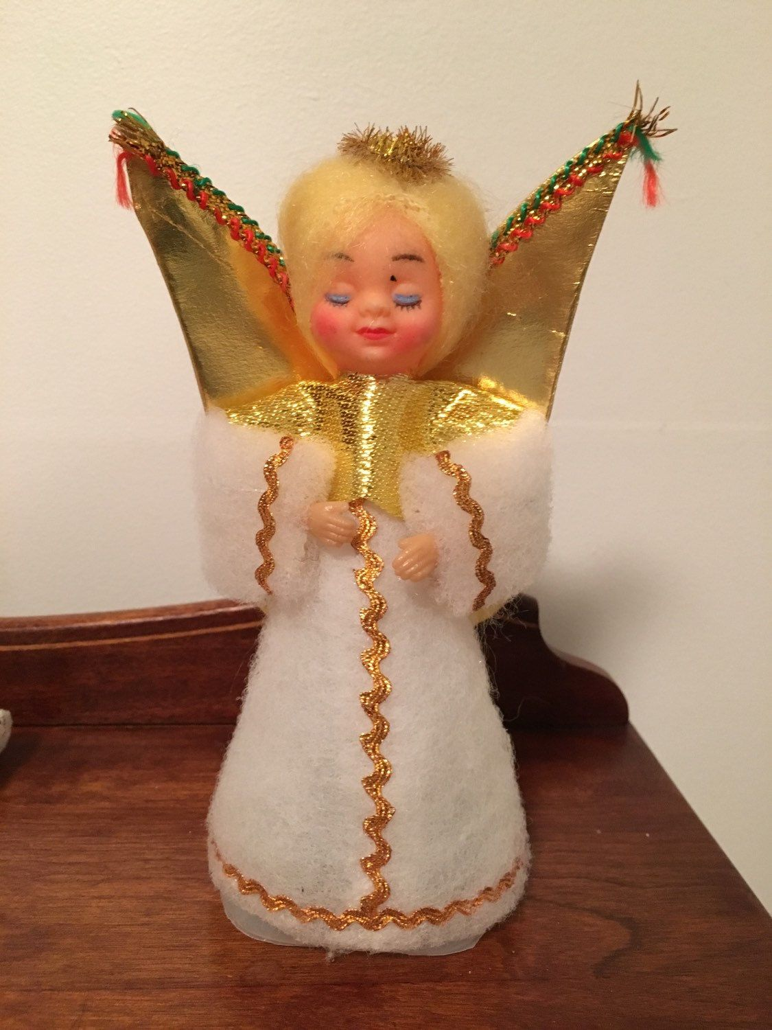 Vintage Christmas Angel Gold White Tree Topper Japan By Schmitysvintagebooty On Etsy Christmas Angels Vintage Christmas White Tree