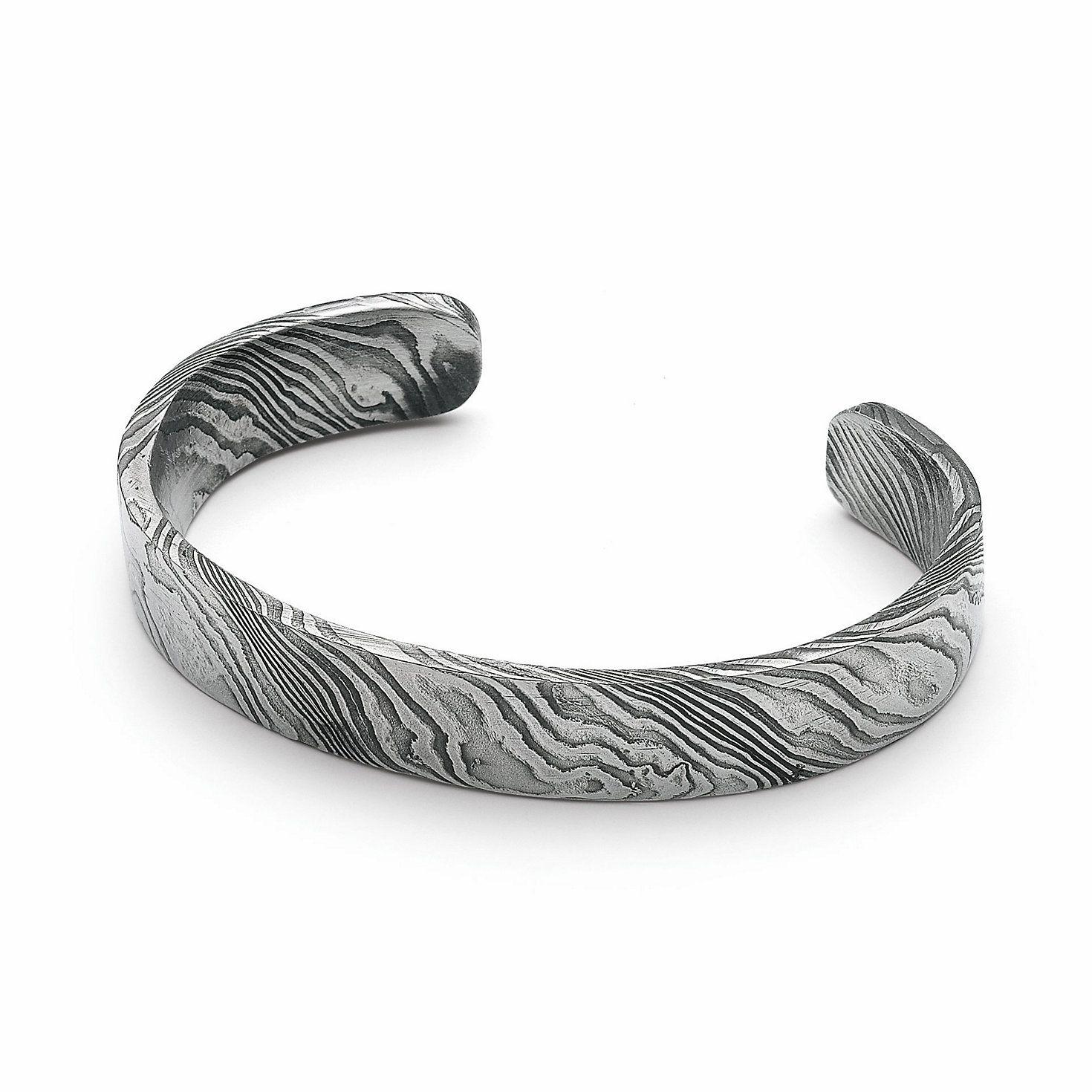 Raw Damascus Steel Bracelet Narrow Manufactum Mens Silver Jewelry Stainless Steel Bracelet Men Steel Bracelet
