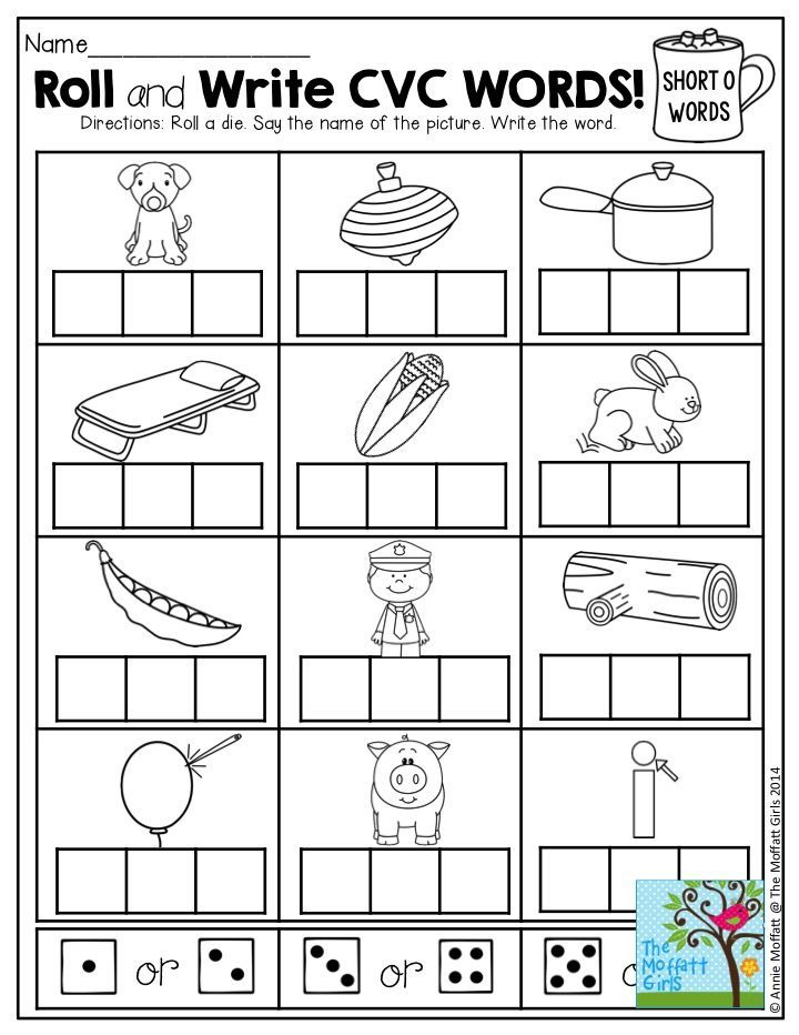 Printable Worksheets writing cvc words worksheets : Roll and Write CVC Words- Roll a die. Say the name of the picture ...