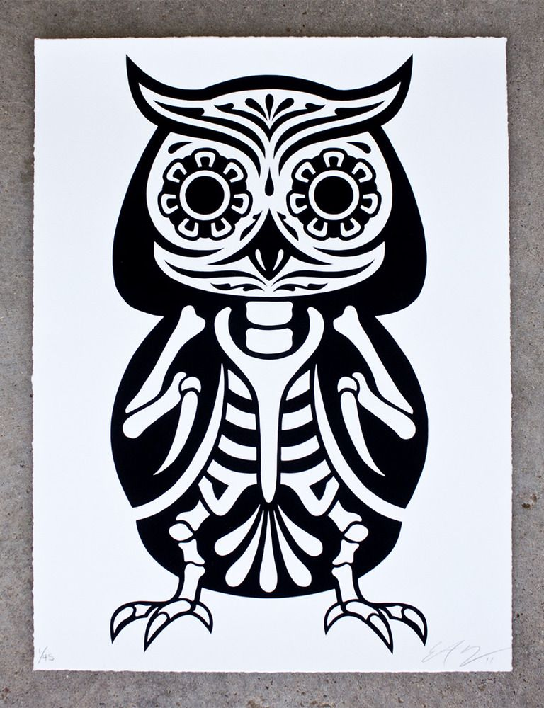 45 usd owl of the dead by ernesto yerena and philip lumbang edition of 45 18x24 hand pulled on 100 rag paper with hand torn edges
