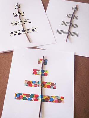 stromeček - jednoduše z větvičky a barevné lepicí pásky