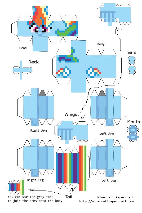 Papercraft Minecraft My Little Pony Ranbo Dash Papercraft Rainbow