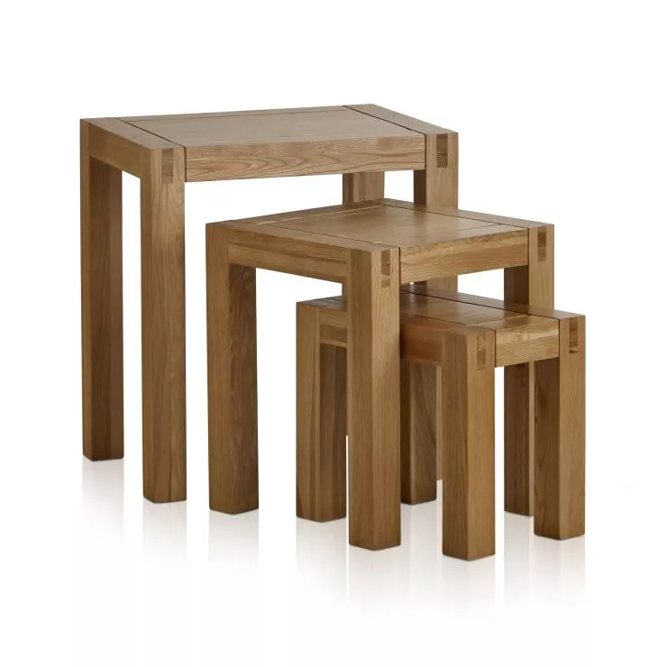 Mango wood cubist nest of tables wood of 3 tables light wood