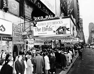 """Hitchcock's """"The Birds"""" opens at RKO Palace theater Rochester, NY (1963) 