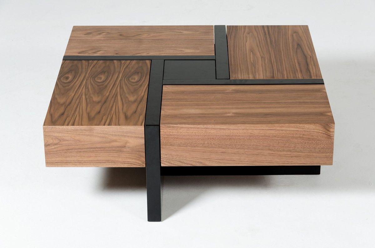 Modrest Makai Modern Walnut Black Square Coffee Table Coffee Tables Living Room Coffee Table Stylish Coffee Table Coffee Table Square [ 795 x 1200 Pixel ]