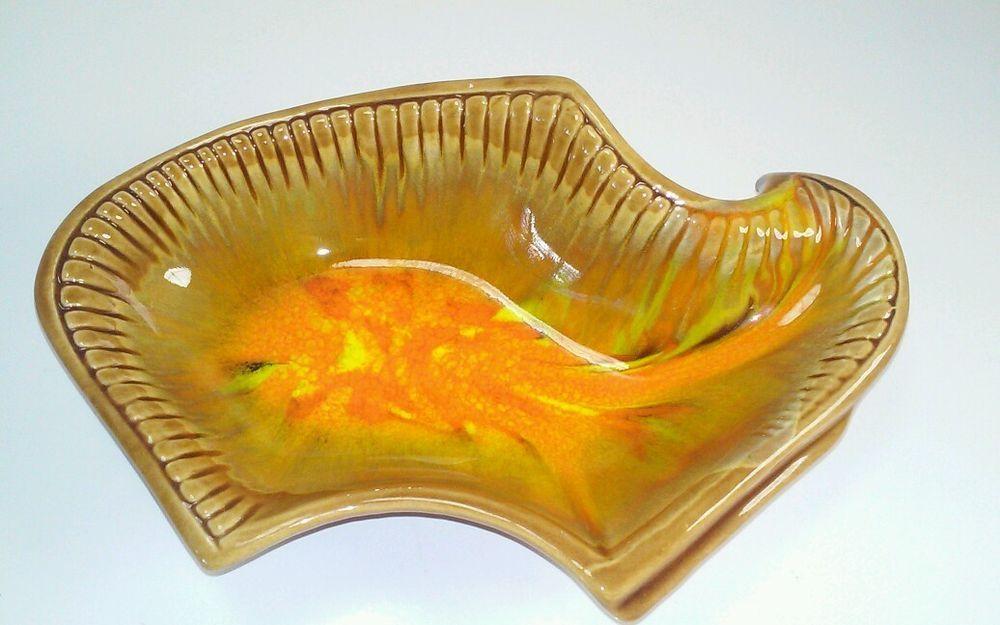 Vintage California Usa Pottery Orange Brown Serving Dish Ash