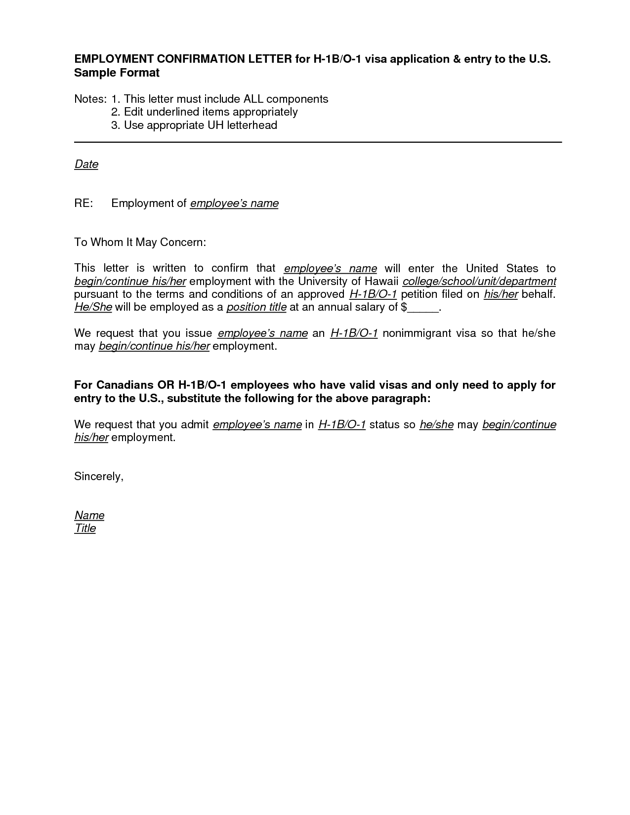 Employment Letter Visa Application Sample Employment