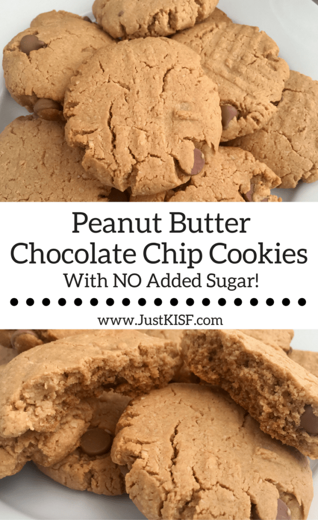 Peanut Butter Chocolate Chip Cookies With No Added Sugar