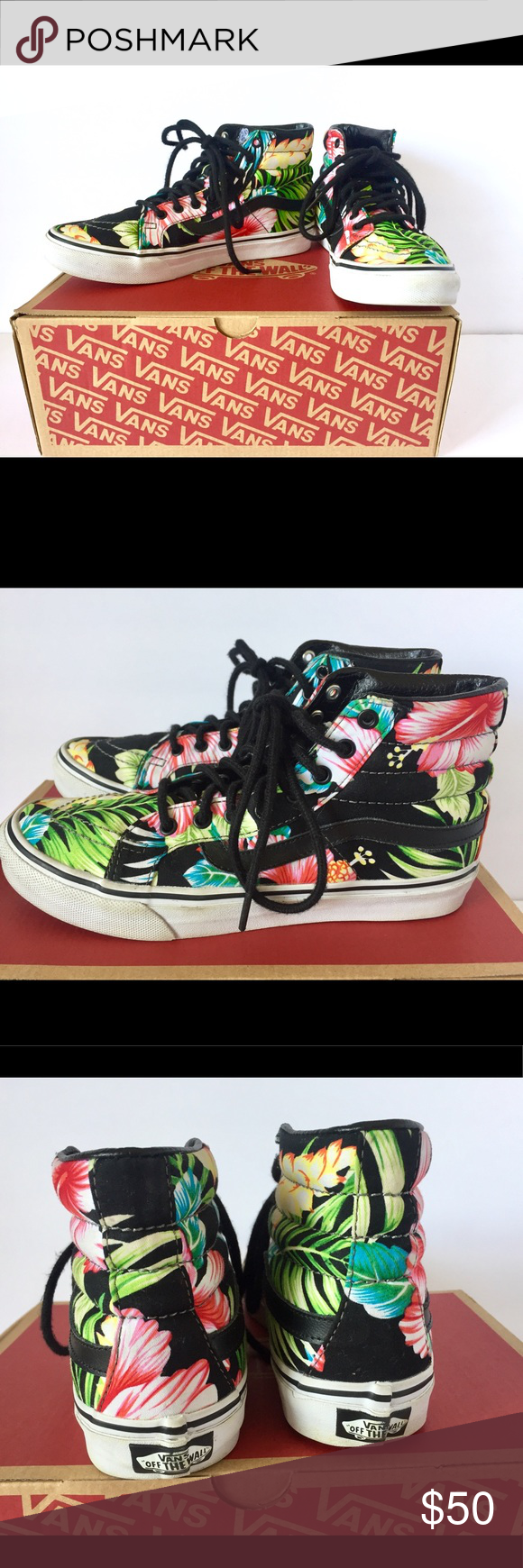 af6bbed9e8e693 Rare Vans SK8 High top Hawaiian 🌺 flowers black Gently used ! In very good  condition Size 7 women or 5.5 Men Feel free to ask any questions Vans Shoes  ...