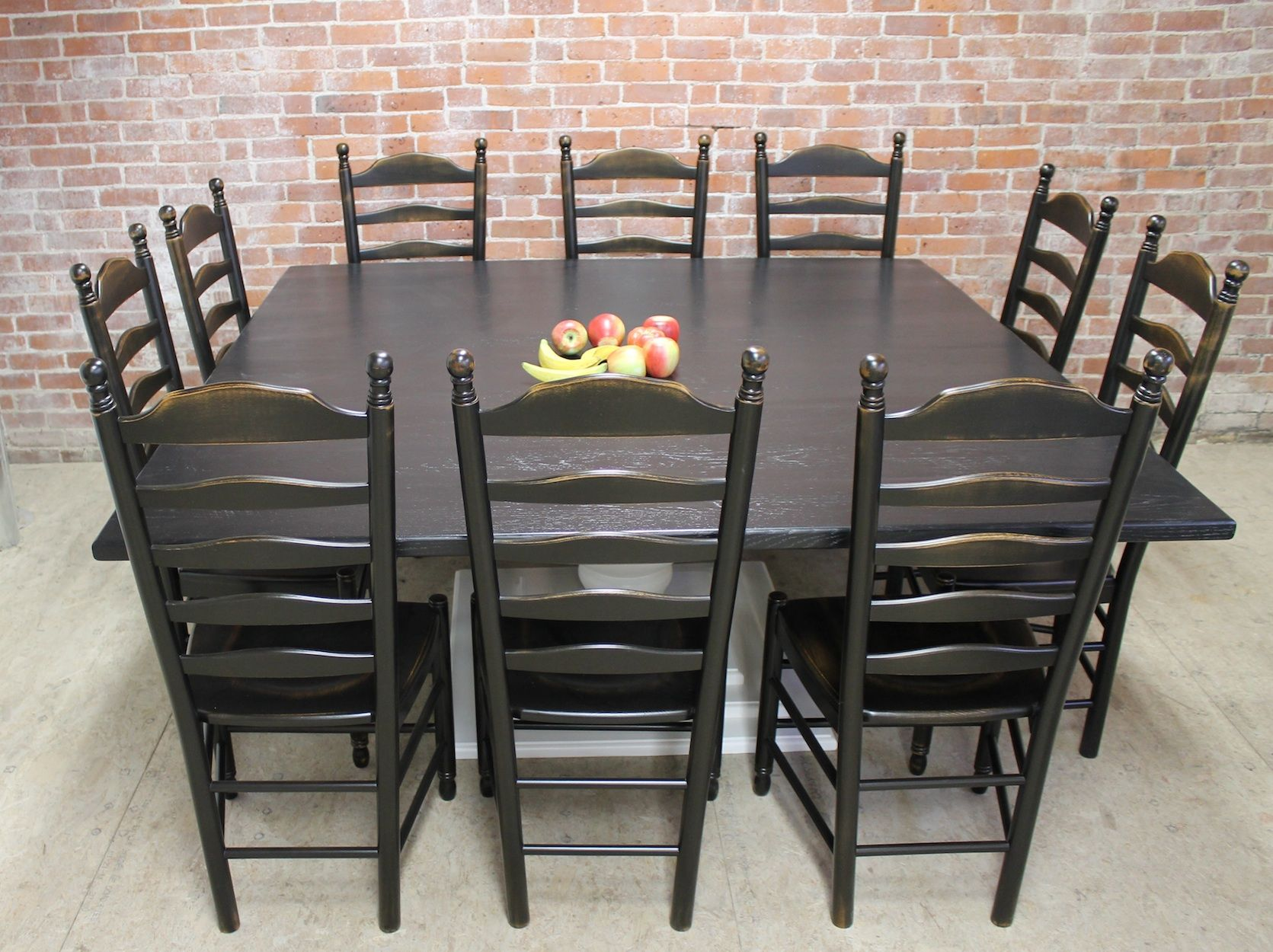 72 Inch Square Black Pedestal Table Lake And Mountain Home Square Dining Room Table Dining Table Black Dining Room Table