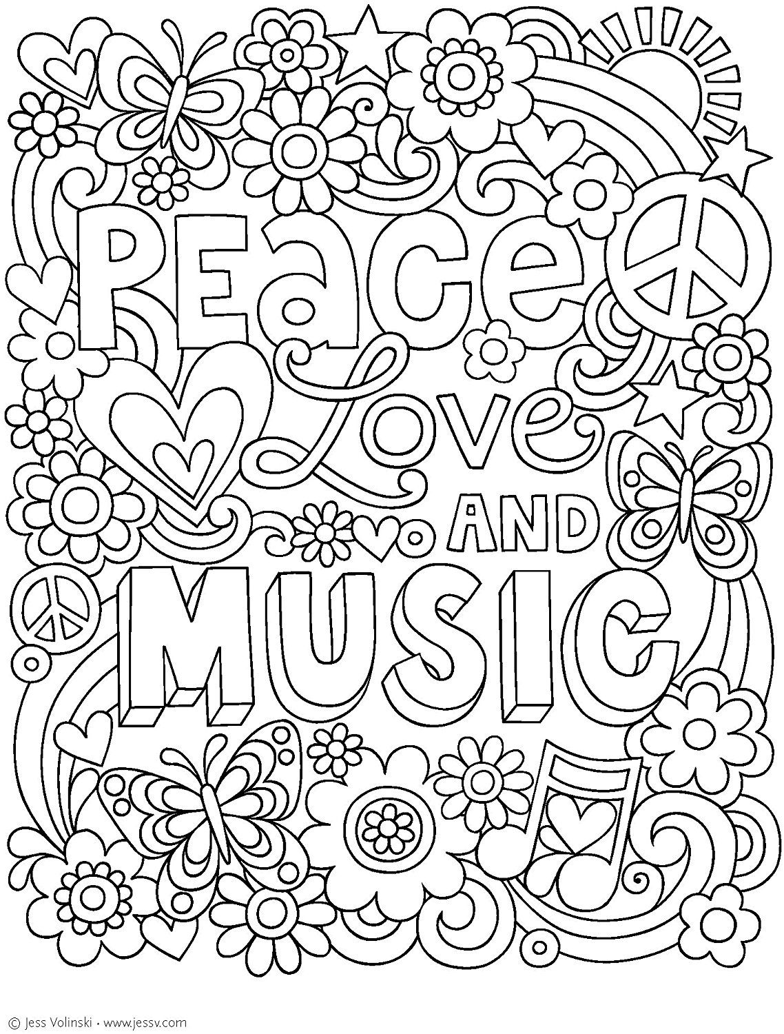 Notebook Doodles Peace, Love, and Music: Coloring ...
