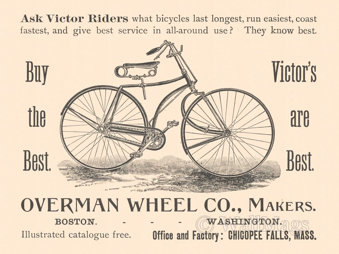 Overman Wheel Co Advertisement Seller Of Victor Bicycles