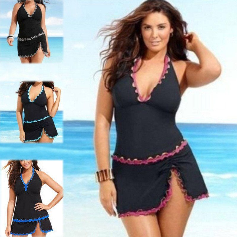 aa9b97bb24 Halter Swimwear Dress Women Push Up Set Swimsuit Skirt Beachwear Swimwear  2017 Bathing Suit Tankini Plus Size