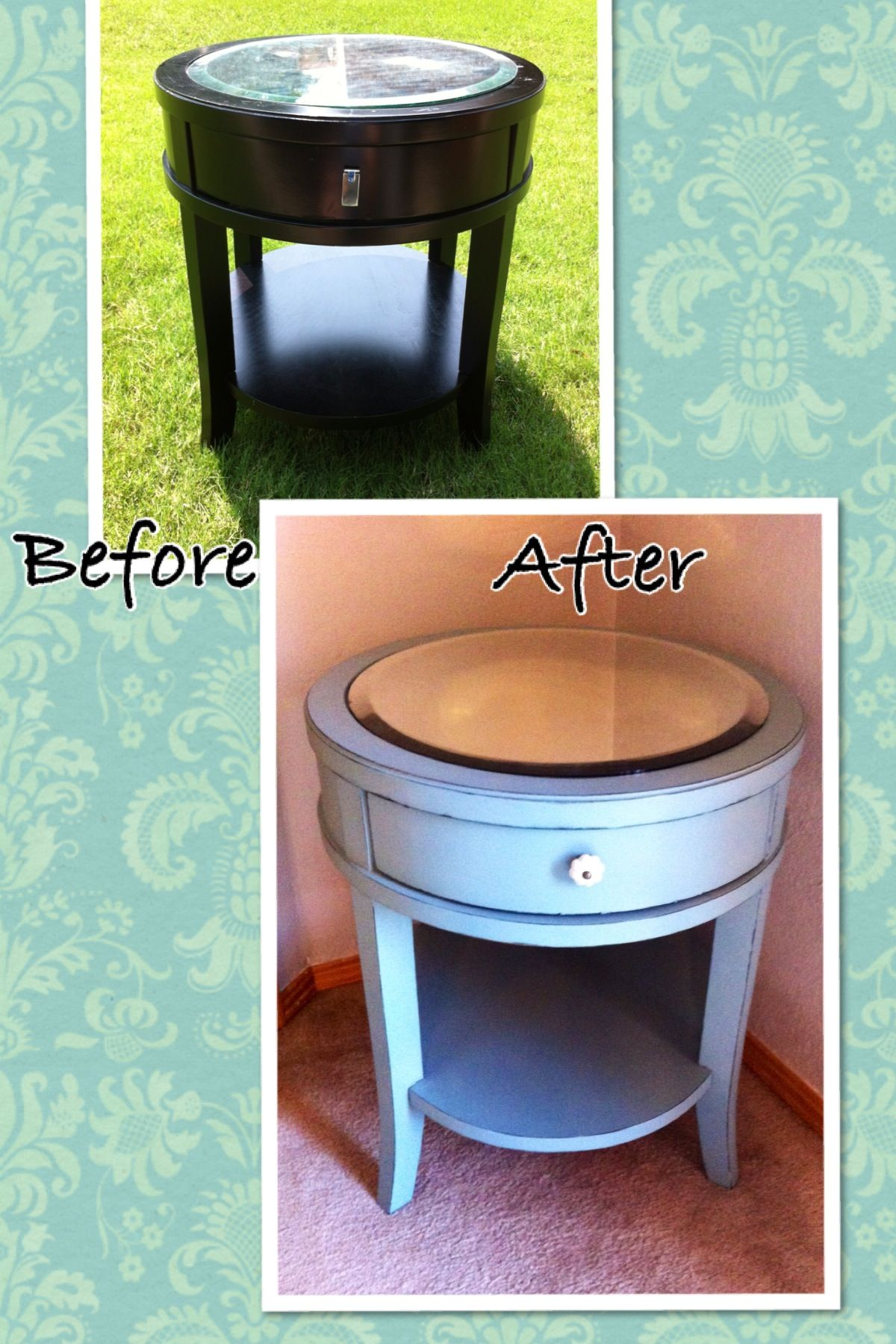 Almost finished with this one, I want to antique the mirror and have vintage pics or pretty paper showing through the back. Still pinning tutorials on how to do that though!  Provence blue chalk paint side table