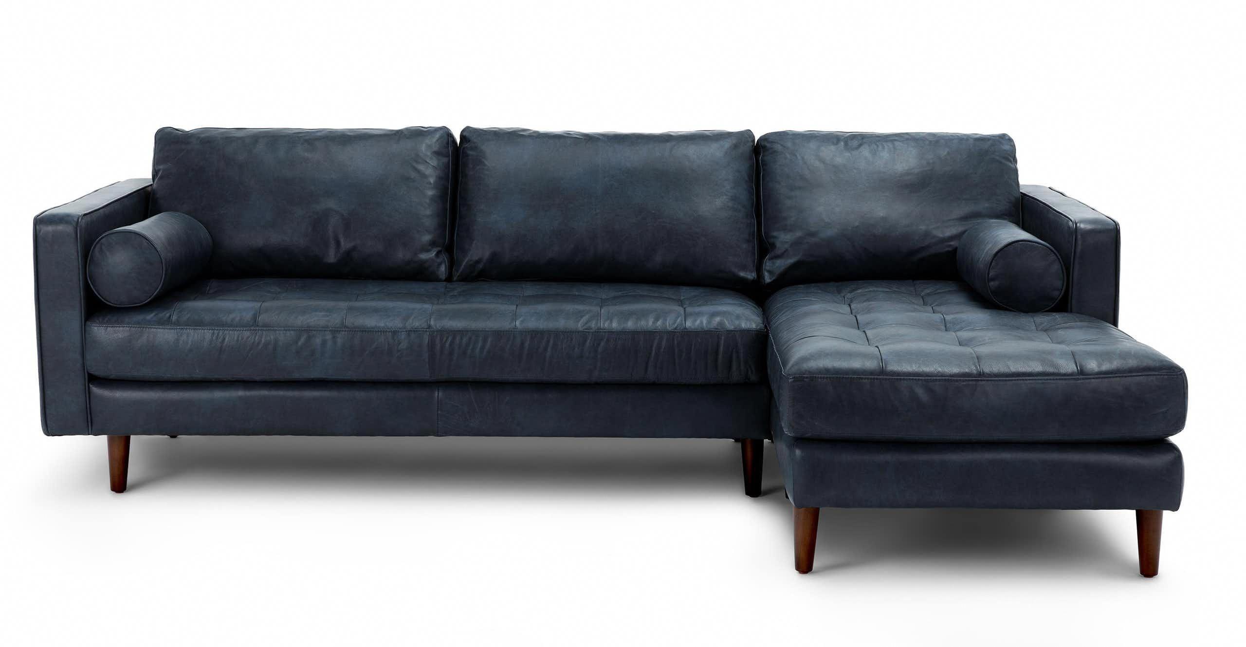 Sven Oxford Blue Right Sectional Sofa Modernlivingroomfurnitureleathersectionals Mobilier De Salon Decoration
