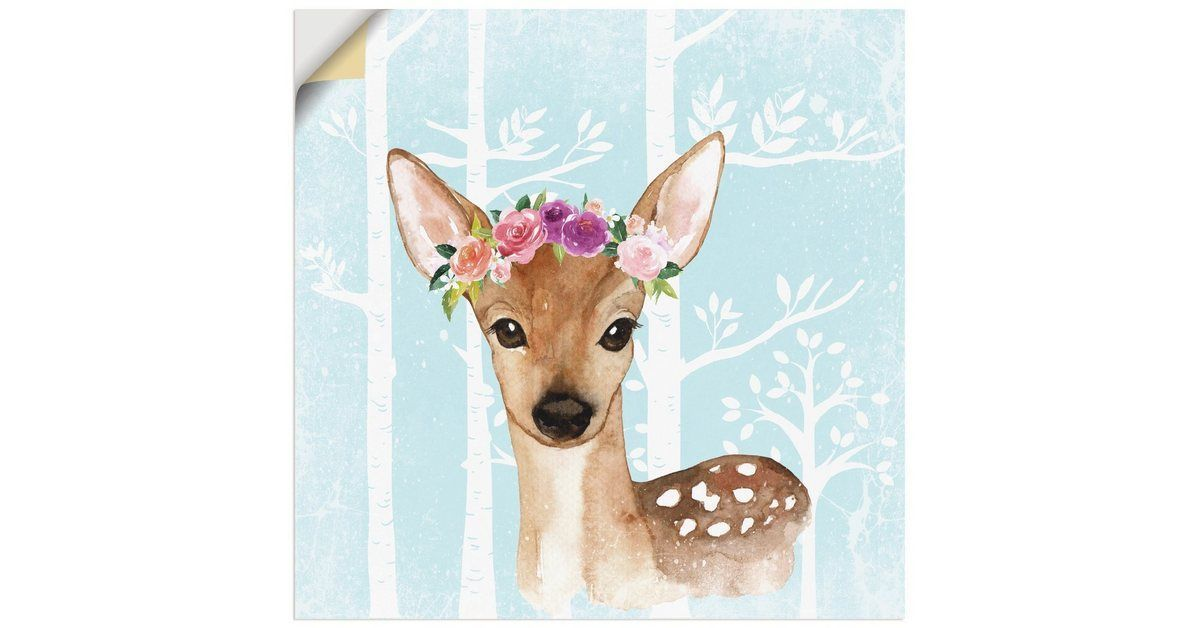 Buy Artland Premium Wall Foil UtArt Wild Deer with Flowers in the Forest Illustration online OTTOartland