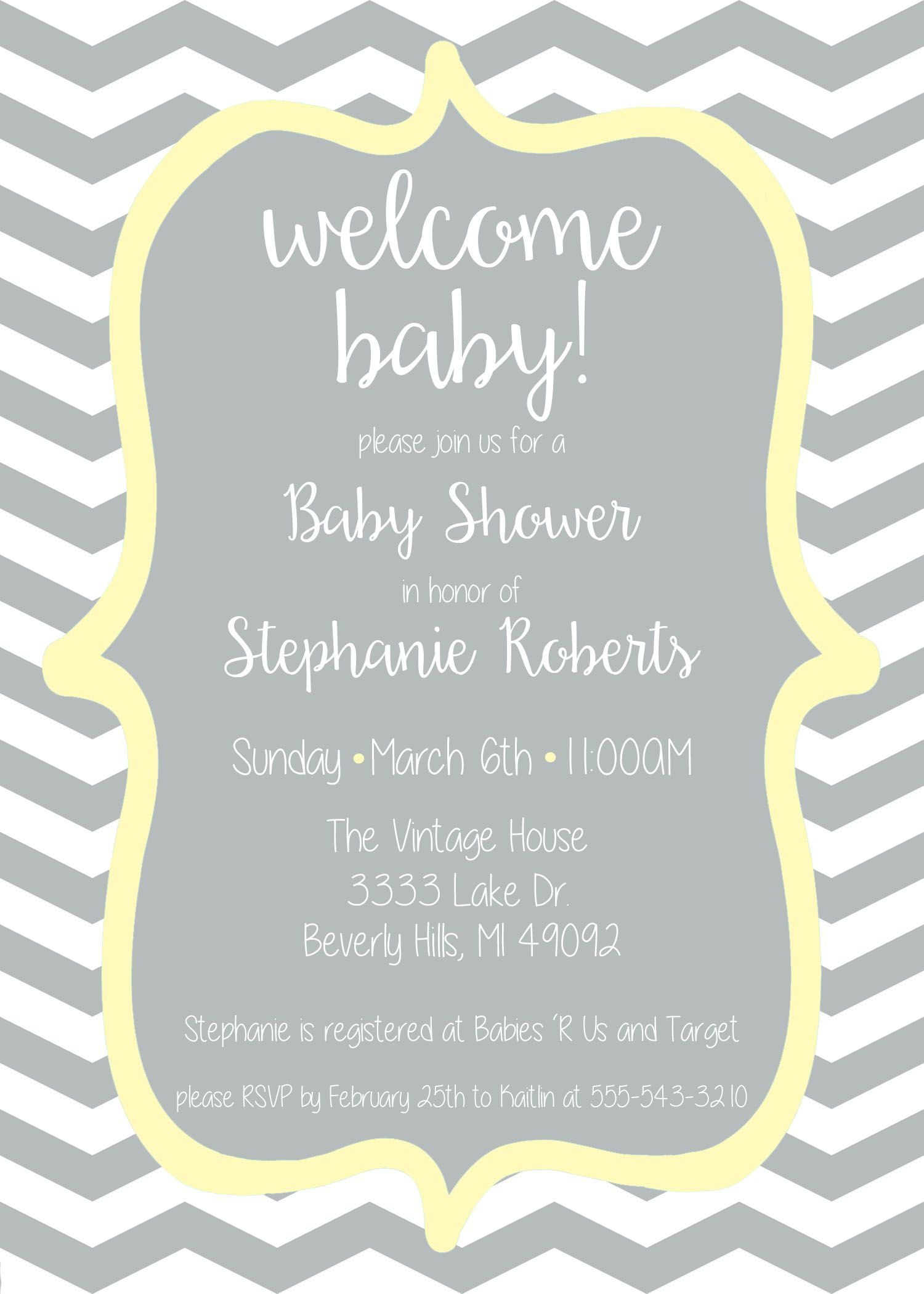 Wel e Baby Baby shower invitation Yellow and Grey Chevron or