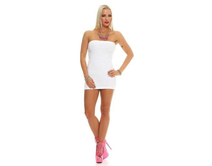 Damen Kleid Dress Bandeaukleid Bandeau Trägerlos Club Party ...