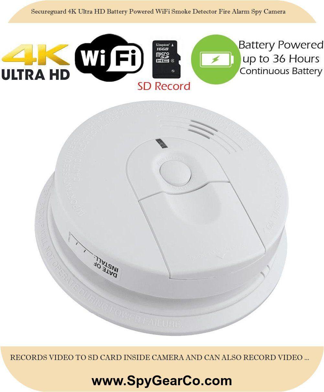 Secureguard 4k Ultra Hd Battery Powered Wifi Smoke Detector Fire