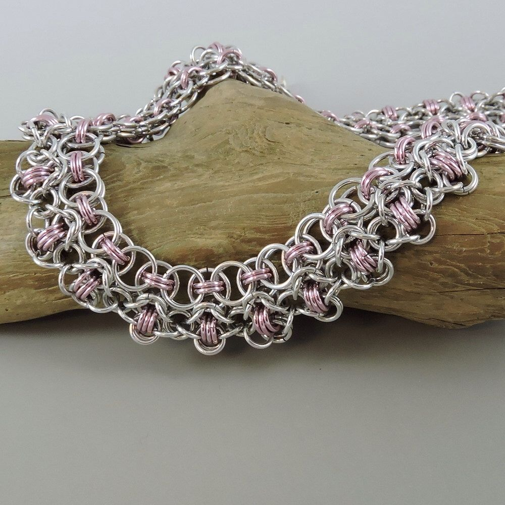 Chainmaille Necklace, Rondo a la Byzantine Necklace, Pink Chainmail Necklace, Chain Mail Jewelry by HCJewelrybyRose on Etsy https://www.etsy.com/listing/179477672/chainmaille-necklace-rondo-a-la