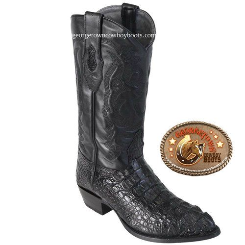 Los Altos boots Mens Caiman Belly Snip Toe Western Boot Black 6.5 D