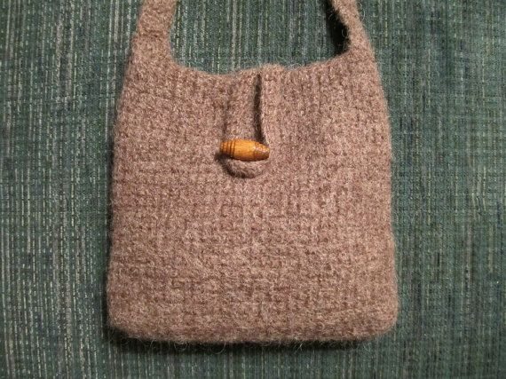 Handcrafted crochet purse, crossbody boho bag, natural brown heather ...