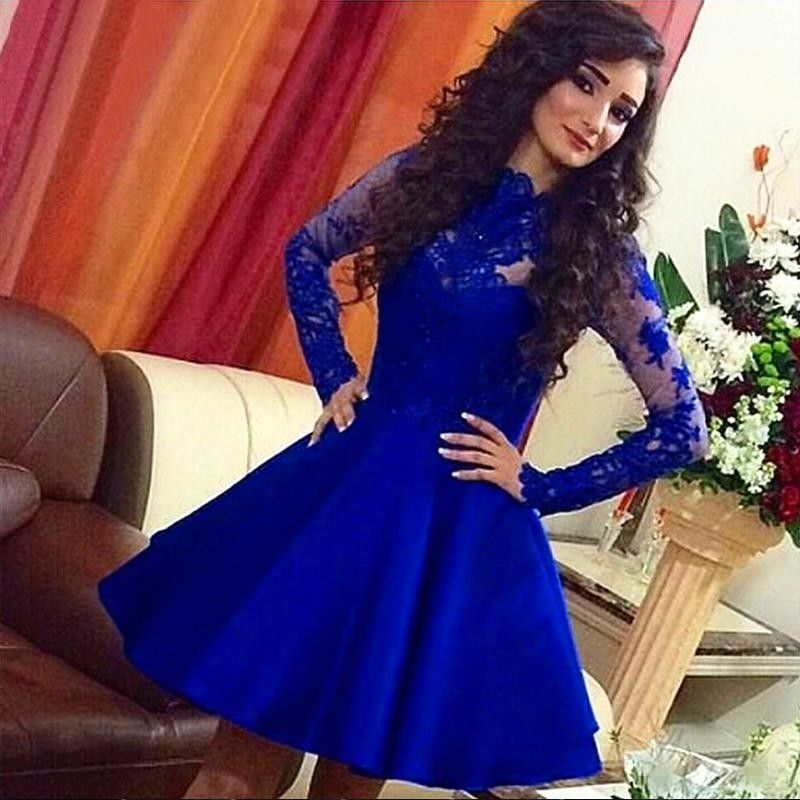 Cocktail Dresses Lace Knee Length Royal Blue Full Sleeve 2017 Party ...