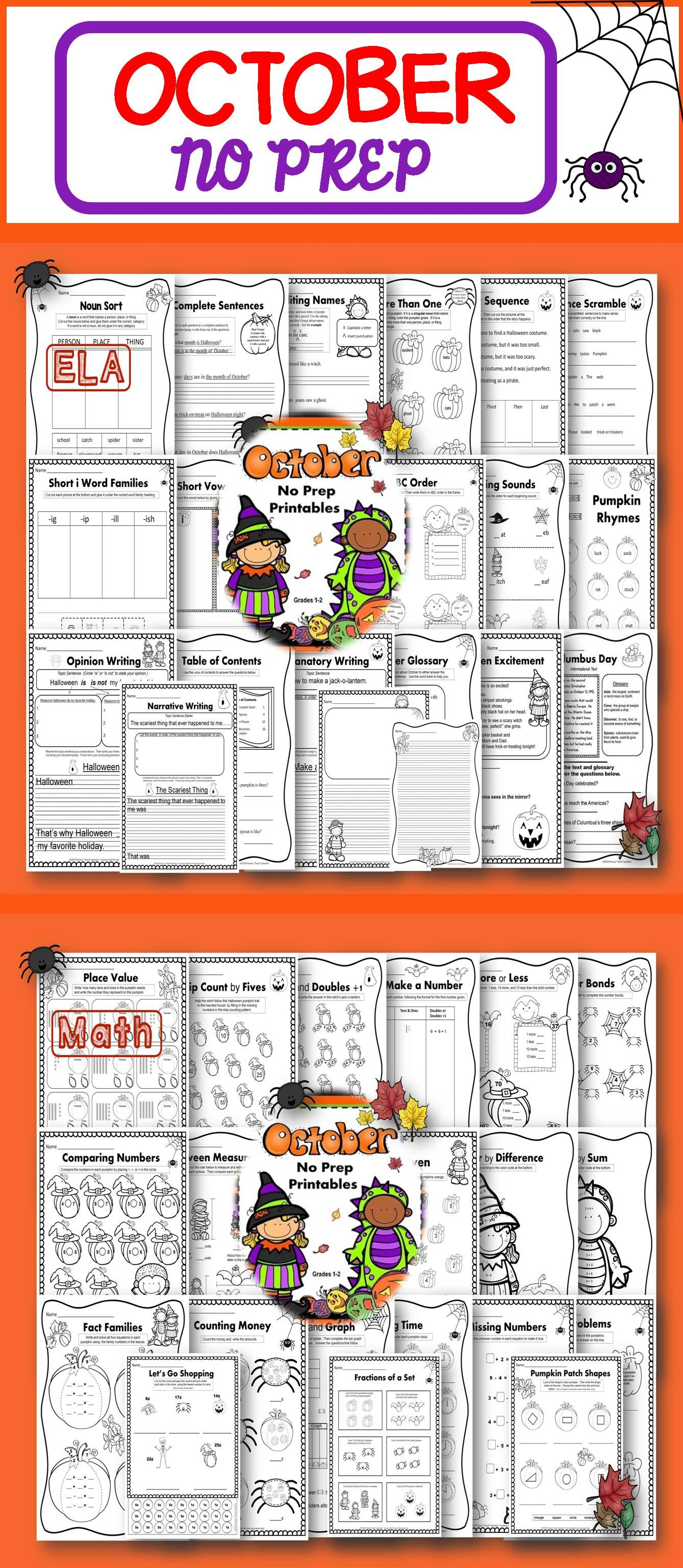 Math And Literacy No Prep Printables