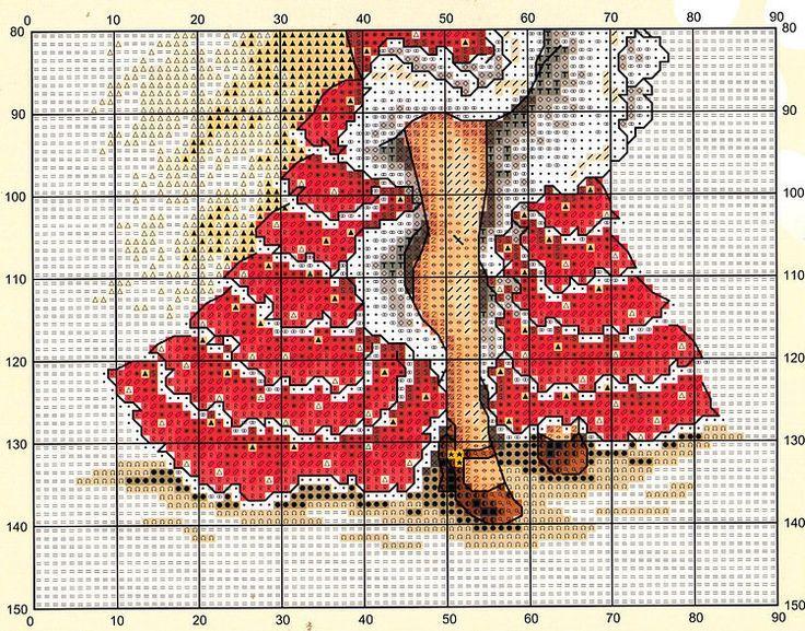 point de croix danseuse de flamenco - cross stitch flamenco dancer part 2