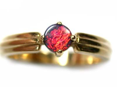 STUNNING RED FIRE GEM BOULDER OPAL 18K GOLD RING SIZE6 SCA84