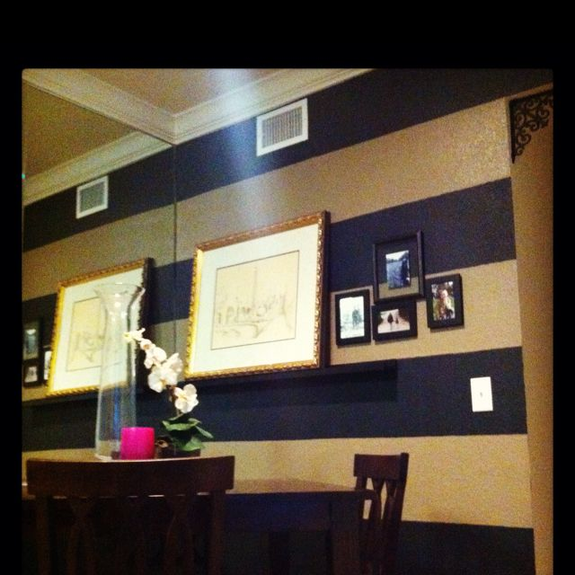 Navy Blue And Tan Bathroom: Black And Tan Stripes - Dining Room Wall