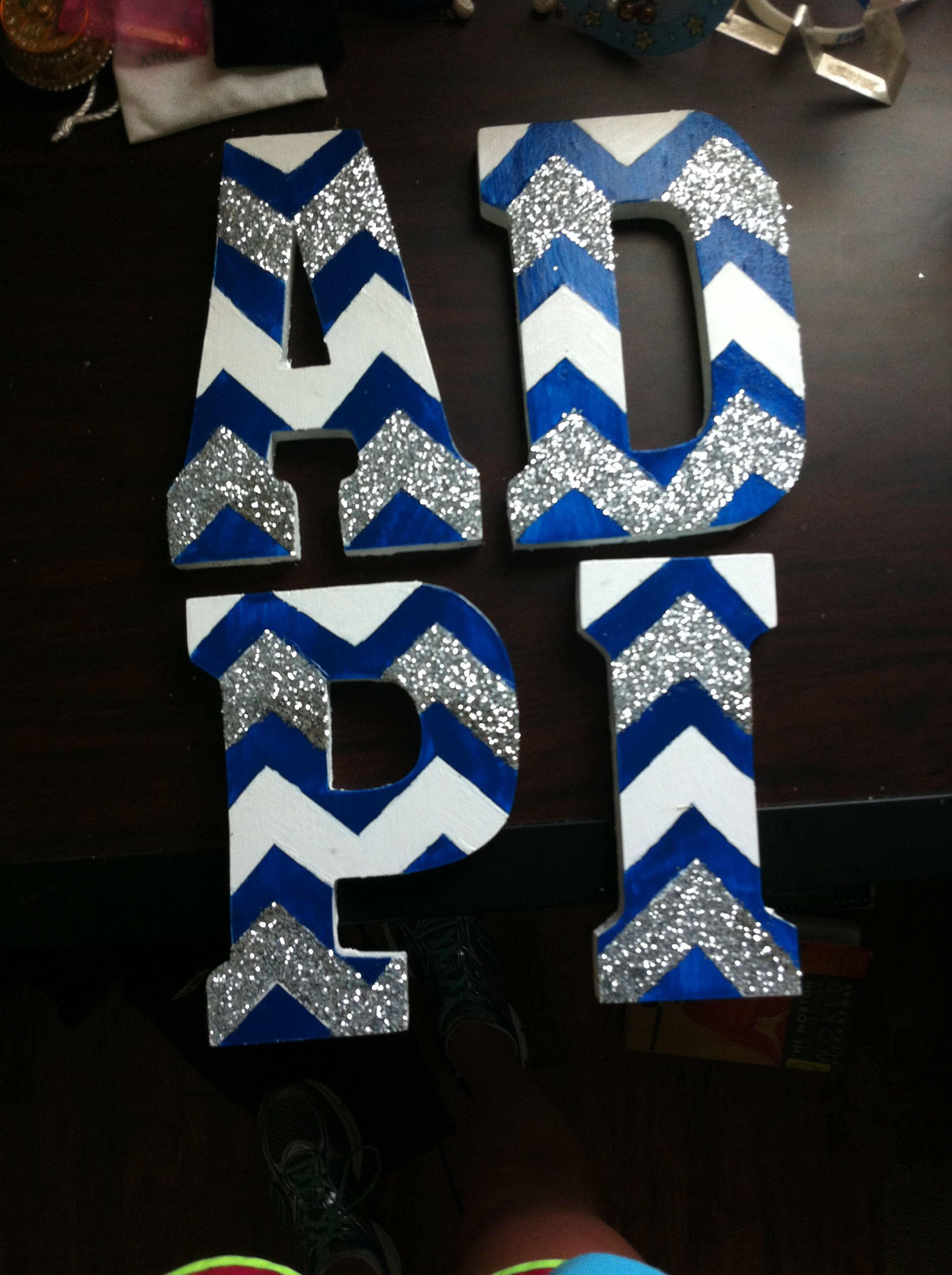 Adpi Wooden Sorority Letters With Chevron And Glitter Completed