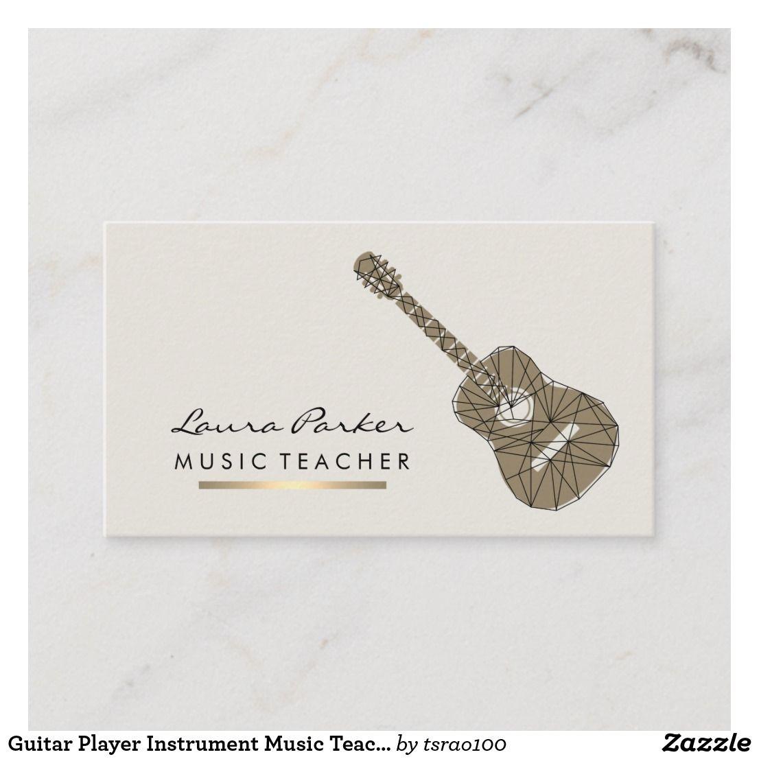 Guitar Player Instrument Music Teacher Gold Business Card Zazzle Com In 2021 Gold Business Card Music Business Cards Business Card Musician