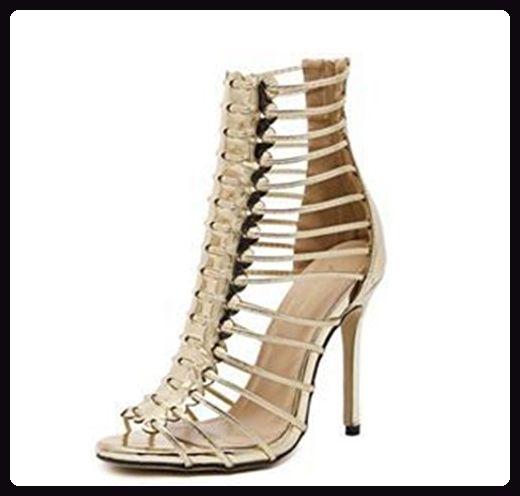 Aisun Damen Elegant Römisch Kunstleder Reißverschluss Stiletto High Top  Sommerstiefel Sandale Gold 37 EU - Sandalen