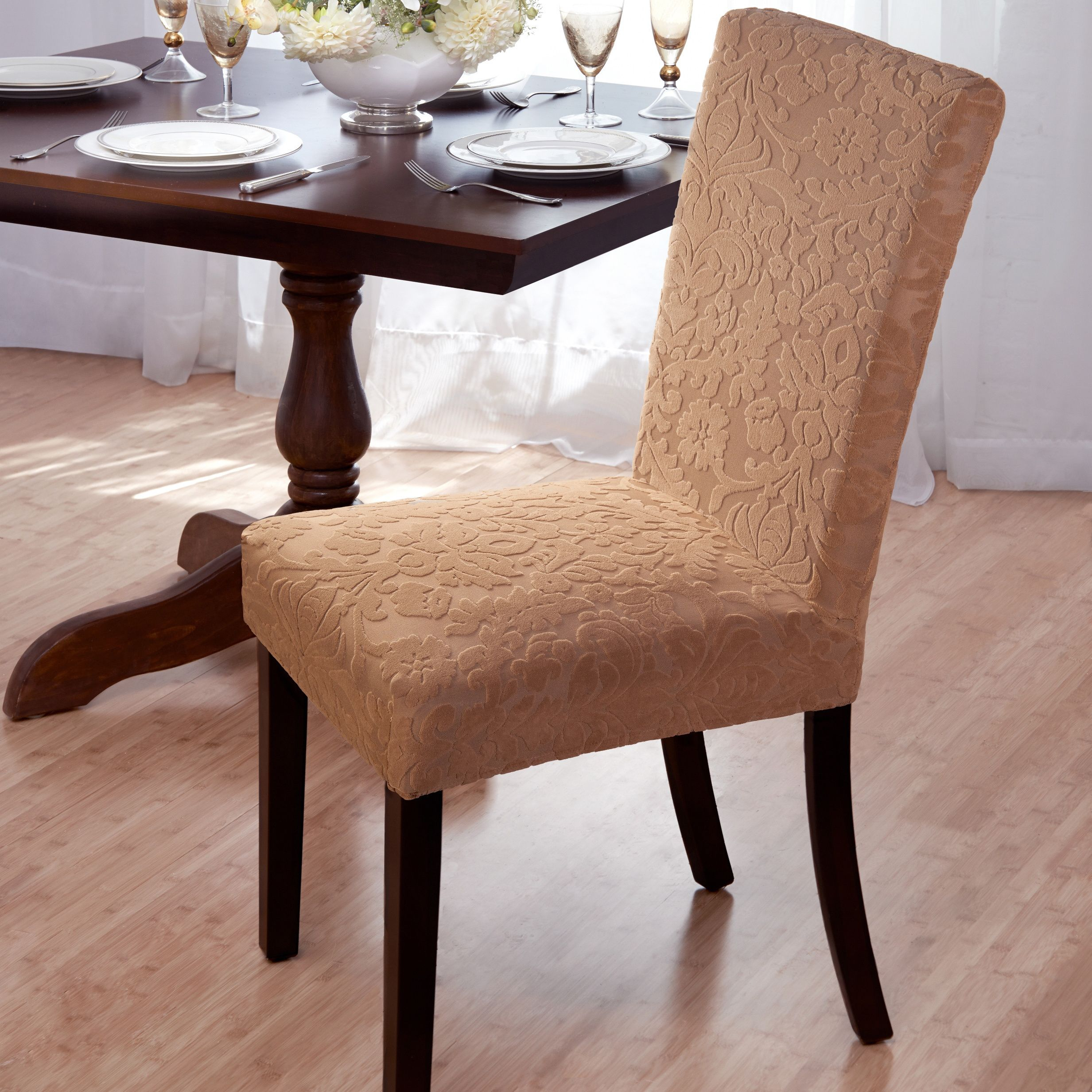 This Slipcover Features Soft Formfitting Textured Fabric That Stunning Stretch Covers For Dining Room Chairs Inspiration