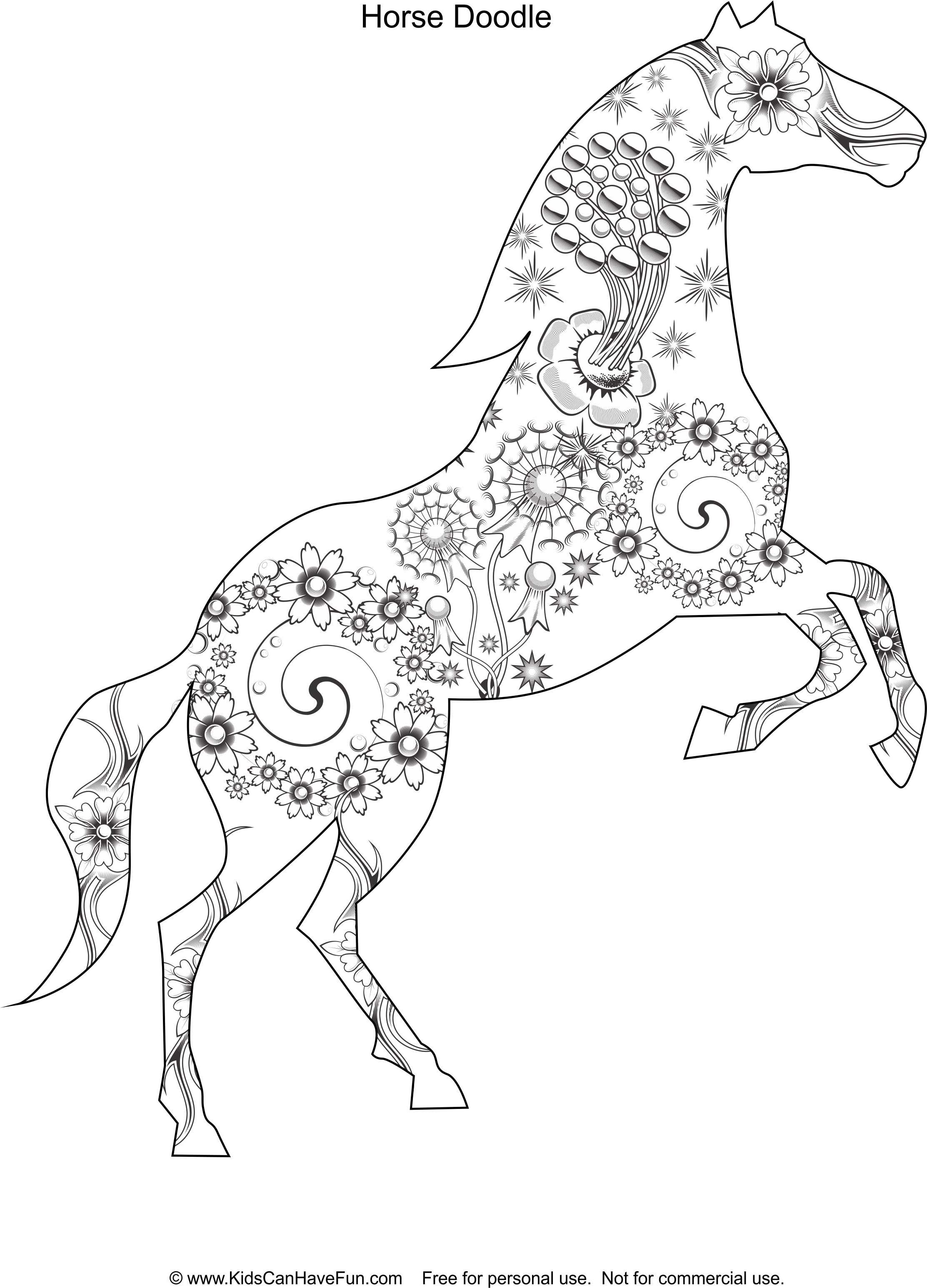 Horse Doodle Coloring Page Kidscanhavefun
