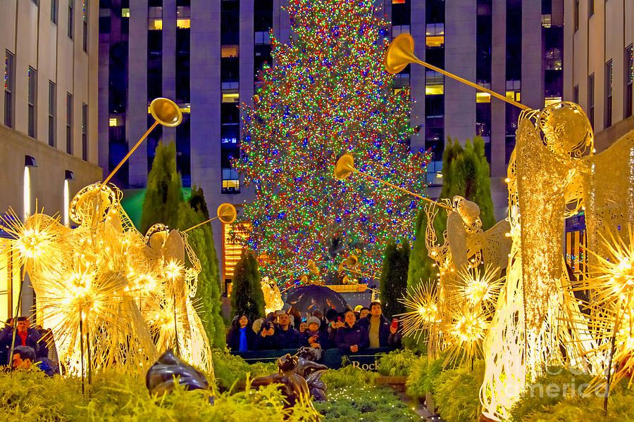 Rockefeller Center Christmas Tree And Angels Photograph by Regina . - Rockefeller Center Christmas Tree And Angels Photograph By Regina