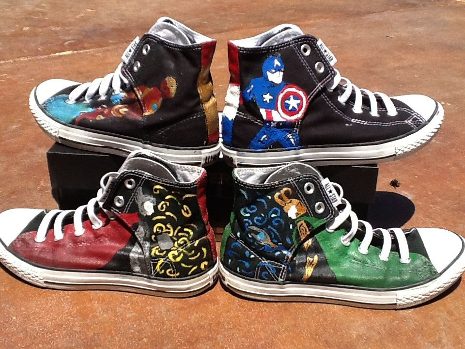 78ddbe17399f Avengers Hand Painted Converse High Tops by TapedUpGoods on Etsy ...