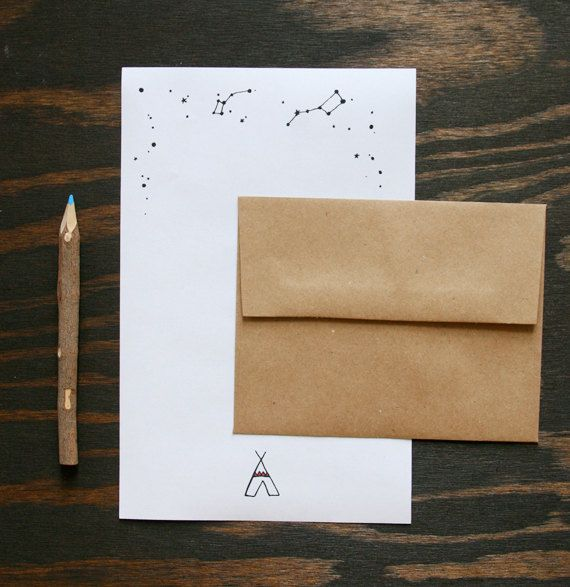 Camp Stationery Teepee Tent Constellations Set Of 12 20 00 Via Etsy Camp Stationery