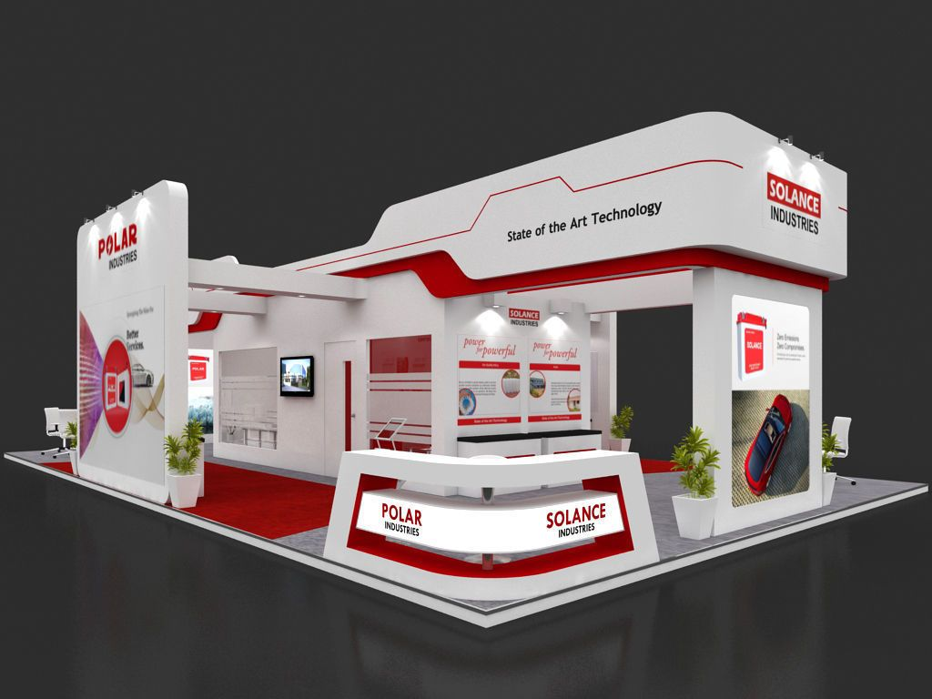 Exhibition Stall Design In Vadodara : Exhibition stall d model mtr sides open