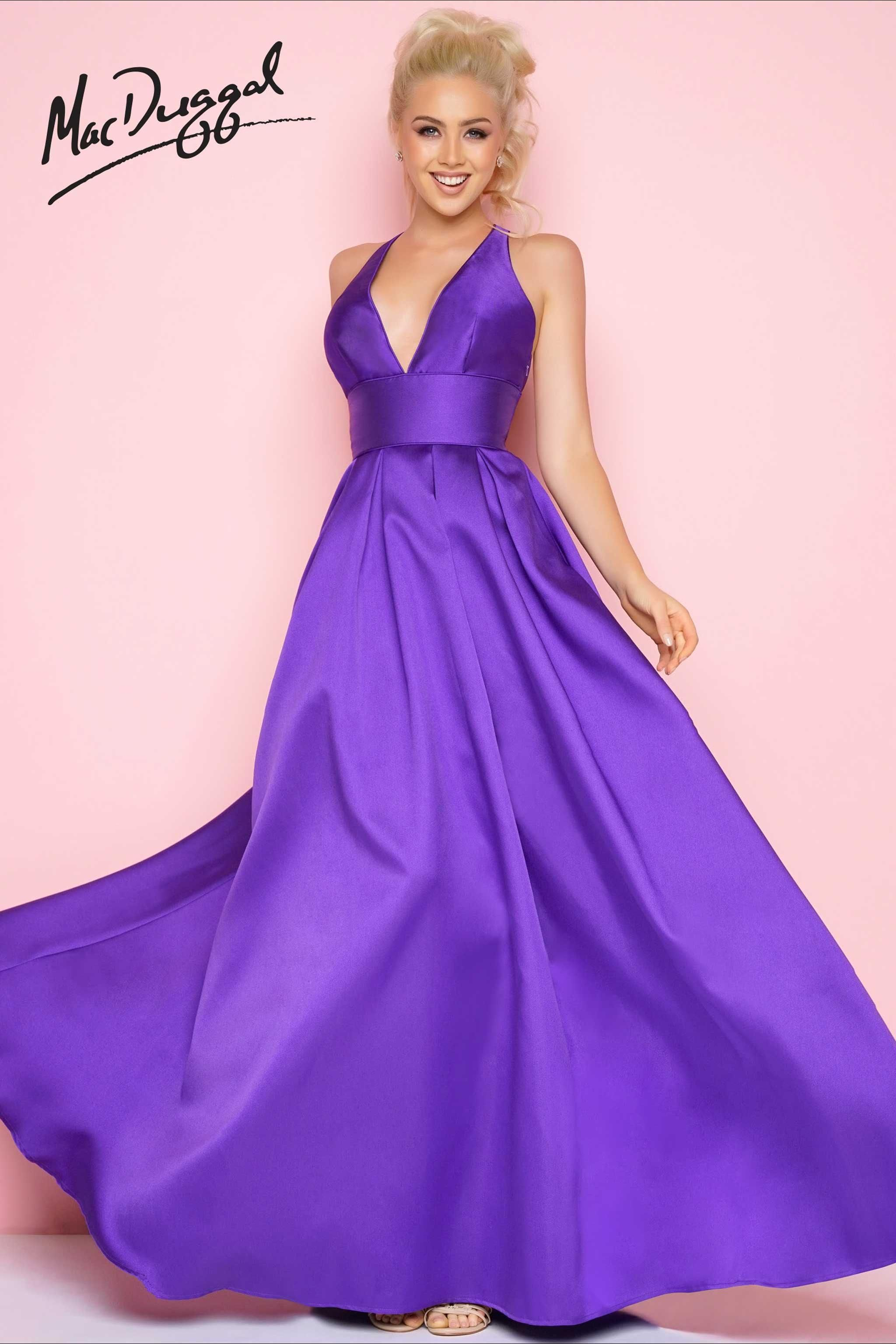 Plunging vneck sleeveless satin floor length fit and flare prom