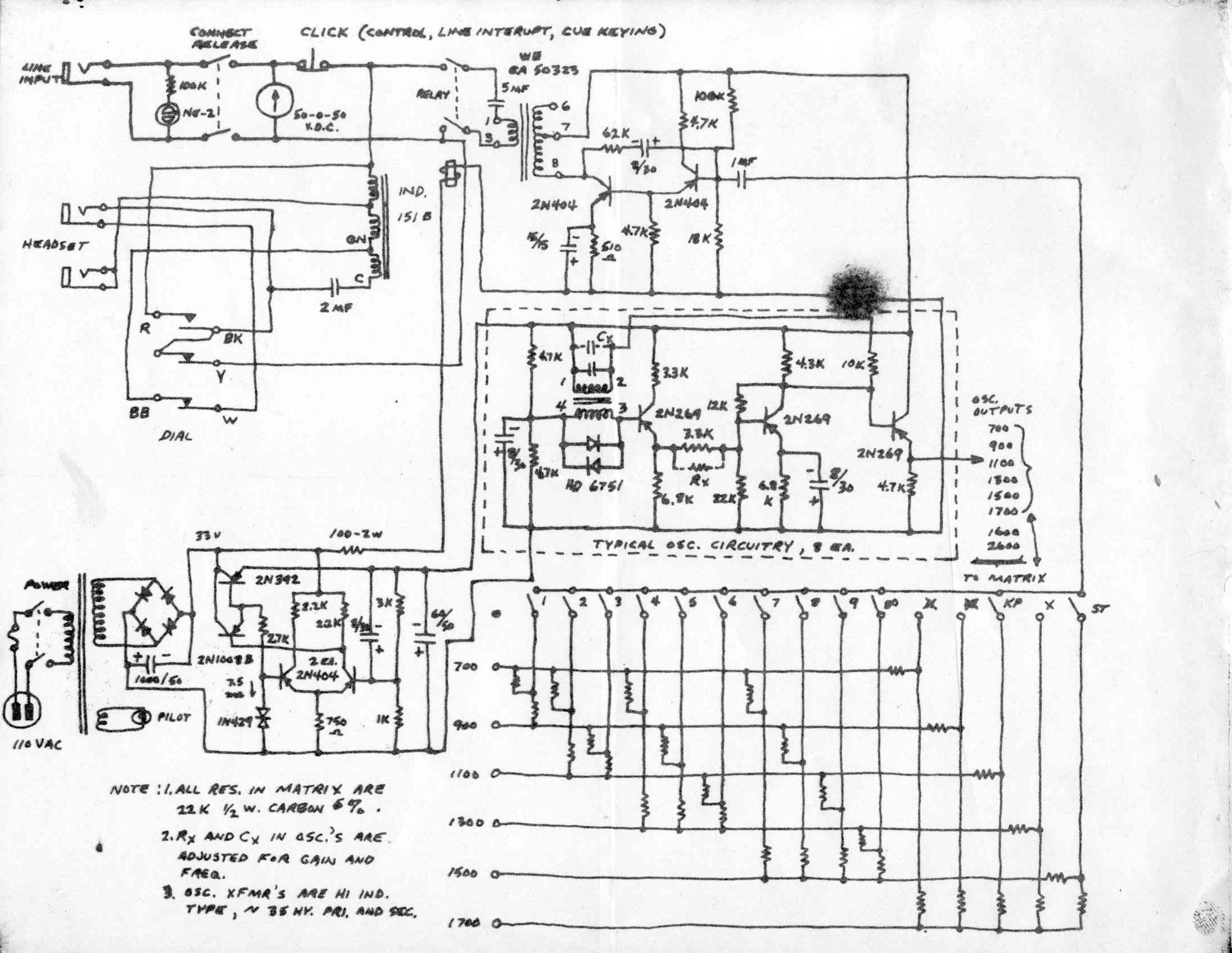 1950 u0026 39 s prototype blue box schematic