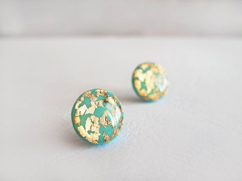 Turquoise Gold Round Stud Earrings By Lalilajewelry On Etsy
