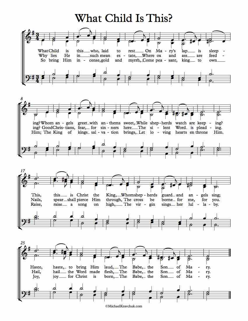 Free Choir Sheet Music What Child Is This Free Sheet Music