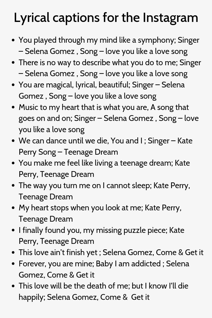 200 Instagram Captions Lyrics Best Ig Lyrical Captions In 2020