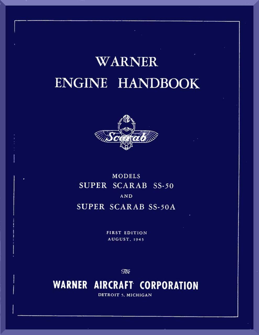 warner super scarab ss 50 aircraft engine handbook manual english language aircraft reports aircraft manuals aircraft helicopter engines - Blueprint Aircraft Engines